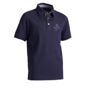 Camisa Polo Hipismo infantil 140  Fouganza - SS PL 140 BOY JR NAVY, 8 YEARS