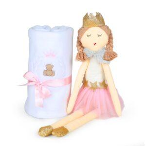 Boneca de Pano - Princesa + Cobertor Soft Theodore Rosa