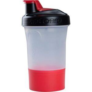 Shaker 400ml 2em1 com Dose Extra Vermelha - *SHAKER 1 DOSE PRETO/VERMELHO