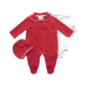 Macacão Infantil - Ponto Trabalhado - Malha - Vermelho - Noruega - RN