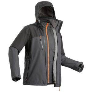 Jaqueta masculina de trekking Rainwarm500 3 em 1