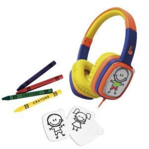 Headphone Infantil com Cards e Giz de Cera - Toon - Laranja e Azul - OEX Kids