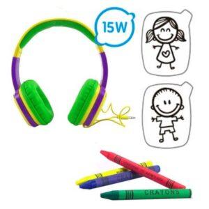 Headphone Infantil com Cards e Giz de Cera - Toon - Roxo e Verde - OEX Kids