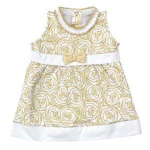 Vestido Sem Manga - Estampa Douradas - 100% Algodão - Branco - Tilly Baby - M