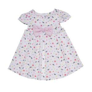 Vestido Infantil - Floral com Laço - Algodão - Branco - Minimi - 3