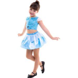 Fantasia Infantil - Cropped - Disney - Princesas - Cinderela - Regina Festas - P