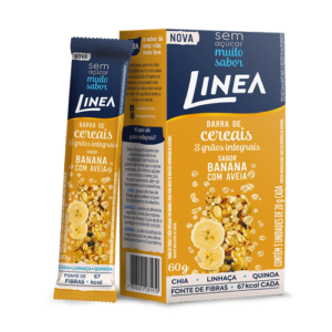 Linea Barra De Cereais 3 Grãos Integrais Banana Com Aveia 3 Unidades