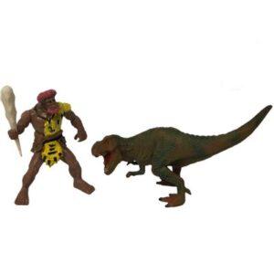 Conjunto de Figuras - 14 Cm - Homem das Cavernas e T-Rex - FanFun