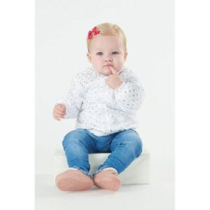 Jaqueta Infantil Corta Vento - 100% Poliéster - Com Brilho - Branco - Malharia Cristina - M