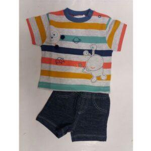 Conjunto Infantil com Camisa Manga Curta - Listrada - 100% Algodão - Mescla - Tilly Baby - G