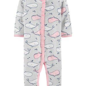 Conjunto para dormir & brincar de algodão com botões de pressão de baleia 6M