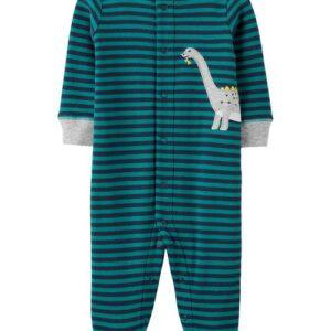 Conjunto para dormir & brincar de algodão com botões de pressão de dinossauro 6M