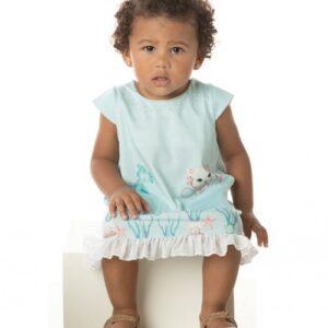 Vestido Bebê Verão Mermaid Turquesa; Com Calcinha - Quebra Cabeça - G - Água
