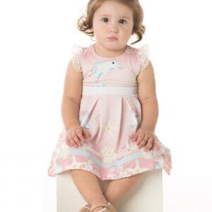 Vestido Bebê Verão Golfinho, Acompanha Calcinha - Quebra Cabeça - M - Rosa