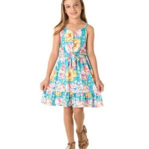 Vestido Infantil Verão Tropical Floral Turquesa - Quebra Cabeça - 4 - Esmeralda