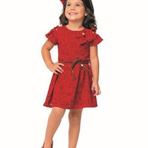 Vestido Infantil Verão Em Lazie Vermelho - Angerô - 1 - Vermelho
