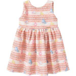 Vestido infantil Verão Pássaros Coloridos - Pic Esconde  - 1 - Marrom amarelado