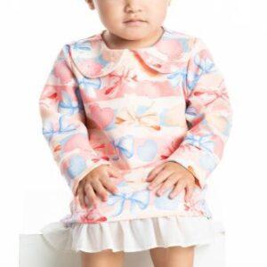 Vestido Inverno Bebê Laços - Quebra Cabeça - M - Rosa