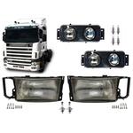 Kit Par Farol + Milha Scania Serie 4 R144 06 C/ Parafusos H4