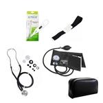 Kit de Enfermagem Preto Com Estetoscópio Duplo Aparelho de Pressão Aparelho de Pressão Termômetro Digital e Garrote