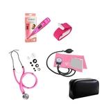 Kit de Enfermagem Rosa Com Estetoscópio Duplo Aparelho de Pressão Aparelho de Pressão Termômetro Digital e Garrote