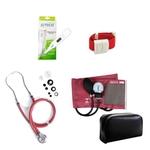 Kit de Enfermagem Vinho Bordò Estetoscópio Duplo Aparelho de Pressão Aparelho de Pressão Termômetro Digital e Garrote