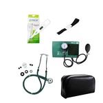 Kit de Enfermagem Verde Com Estetoscópio Duplo Aparelho de Pressão Aparelho de Pressão Termômetro Digital e Garrote