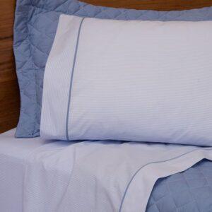 jogo de cama queen scavone 200 fios 100% algodão básico stripes azul