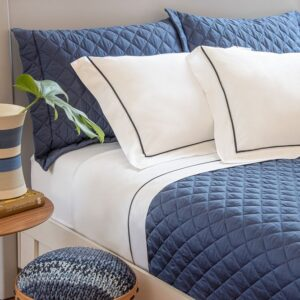 jogo de cama casal scavone 300 fios 100% algodão normandie azul