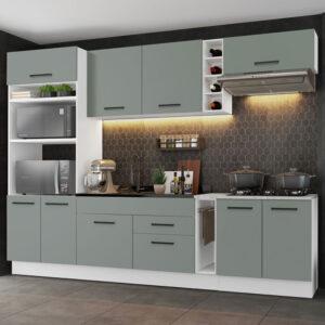 Cozinha Completa Madesa Agata 290001 com Armário e Balcão (Sem Tampo e Pia) Branco/Cinza