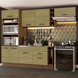 Cozinha Completa Madesa Agata 290002 com Armário e Balcão (Sem Tampo e Pia) Rustic/Carvalho
