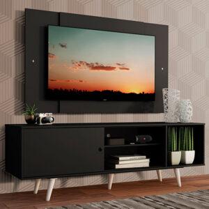 Rack Madesa Dubai com Pés e Painel para TV até 58 Polegadas Preto/Preto 8N77