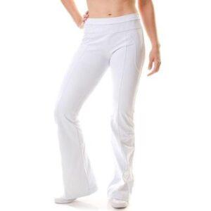 Calça Exceler Moda Fitness Bailarina Flare Feminina - Feminino-Branco