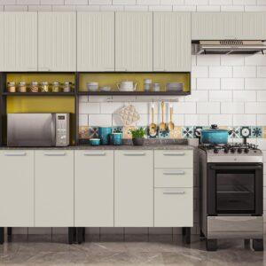Cozinha Itatiaia Midi Pop Art i2 - 4 Peças com Paneleiro - Grafite/Off White/Amarelo Claro