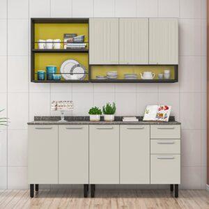 Cozinha Itatiaia Midi Pop Art i2 - 4 Peças - Grafite/Off White/Amarelo Claro