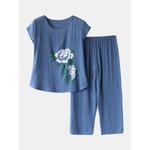 Pijama feminino com estampa floral tamanho grande e manga curta solta Loungewear