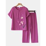Conjunto feminino de flores com estampa de loungewear e pijama respirável com botão mandarim