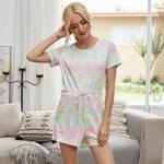 Macacão feminino de manga curta Tie-Dye Loungewear Macacão de uma peça solta com bolsos