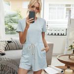 Macacão feminino de manga curta listrada Loungewear Macacão de uma peça solta com bolsos