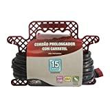 CORDAO PROLONGADOR 3X1,00MM2 10A 15M C/CARRETEL Force Line