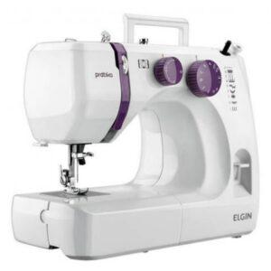 Máquina De Costura Portátil Elgin Prátika Jx-2051 127v Branca E Roxo
