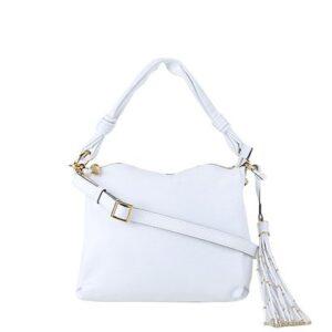 Bolsa Couro Luz Da Lua Handbag Com Barbicacho Feminina - Feminino-Branco