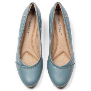 Sapato Piccadilly Salto Médio Feminino - Feminino-Azul
