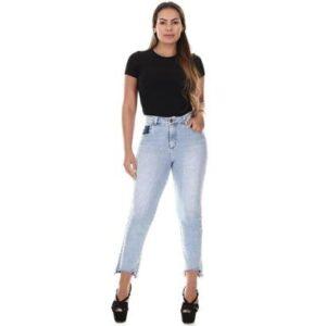 Calça Jeans Sawary Reta Feminina - Feminino-Azul