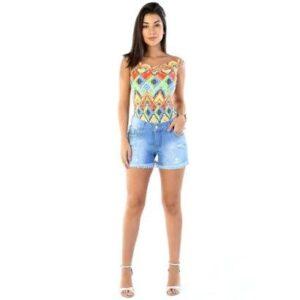 Shorts Jeans  Boyfriend    Feminino - Feminino-Azul Claro