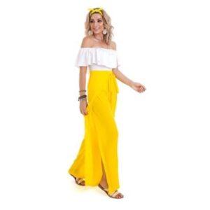 Calça Manola Pantalona Crepe Feminina - Feminino-Amarelo