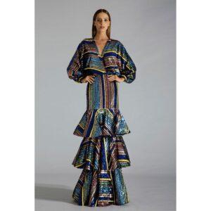 Vestido Longo Paetê Camadas 34