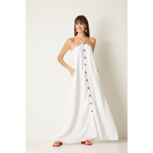 Vestido Longo Linho Branco 38