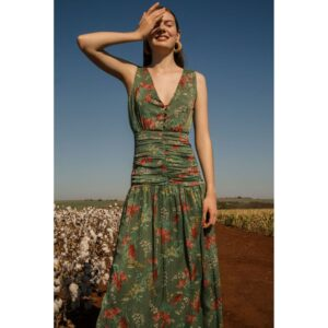 Vestido Longo Floral Oliva 36