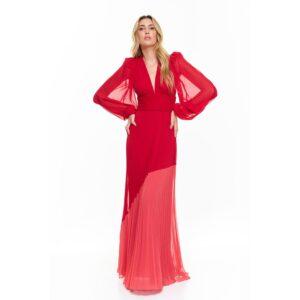 Vestido Longo Plissado Vermelho 38